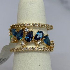 RS Covenant Sapphire Blue & Clear CZ Cutout Ring